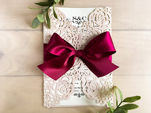 Wedding Invitation lc88: Cream Smooth, Wine Ribbon
