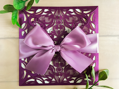 Wedding Invitation lc8: Cream Smooth, Grape Ribbon
