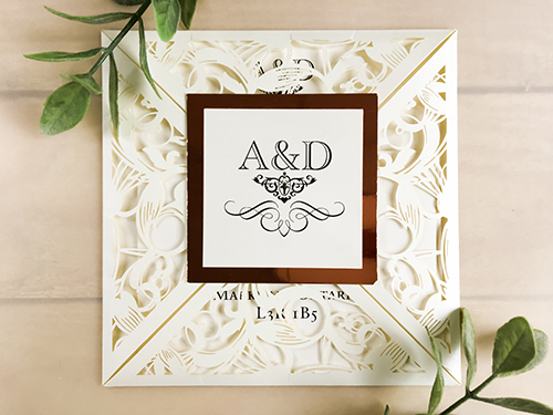 Wedding Invitation lc92: Rose Gold Mirror, Cream Smooth