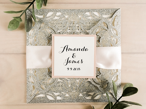 Wedding Invitation lc96: Blush Pearl, Cream Smooth, Petal Pink Ribbon