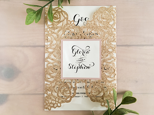 Wedding Invitation lc98: Blush Pearl, Cream Smooth