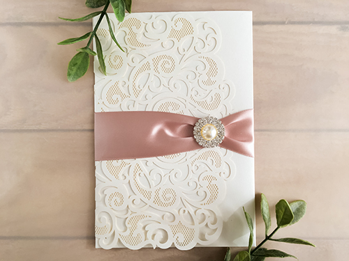 Wedding Invitation lc99: Cream Smooth, Deep Blush Ribbon, Brooch/Buckle G
