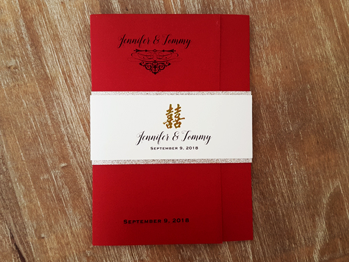 Wedding Invitation mb10: Red Lacquer, Cream Smooth