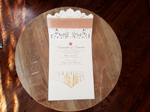 Wedding Invitation mb11: Gold Mirror, Cream Smooth, Champagne Ribbon