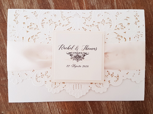 Wedding Invitation mb15: White Gold, Cream Smooth, Antique Ribbon