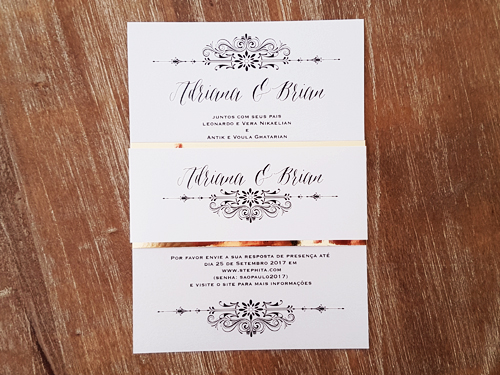Wedding Invitation mb16: Ice Pearl, White Smooth