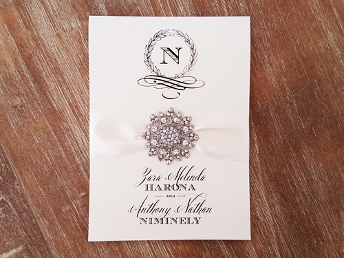 Wedding Invitation mb18: White Gold, Antique Ribbon, Brooch/Buckle A11