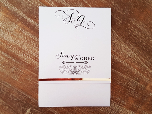 Wedding Invitation mb19: Ice Pearl, Gold Mirror