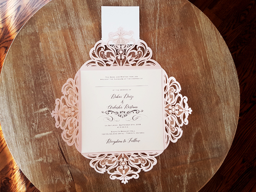 Wedding Invitation mb24: Rose Gold Mirror, Cream Smooth, Brooch/Buckle X, Metal Filigree F4 - Silver