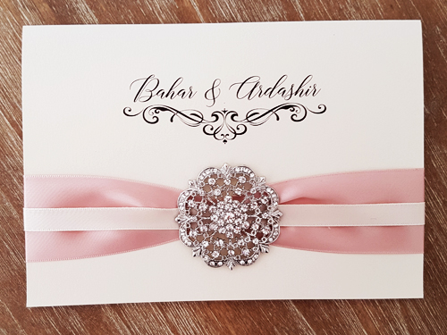Wedding Invitation mb25: White Gold, Deep Blush Ribbon, Antique Ribbon, Brooch/Buckle A20