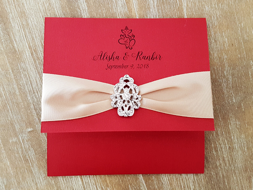 Wedding Invitation mb3: Red Lacquer, Champagne Ribbon
