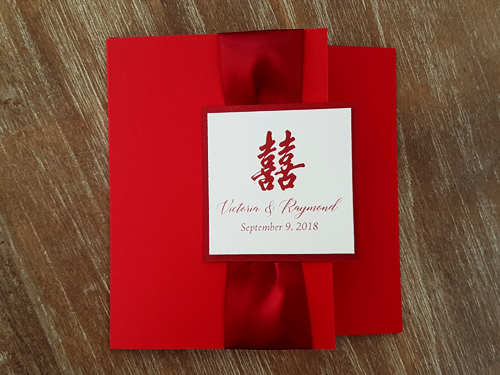 Wedding Invitation mb8: Red Linen, Red Lacquer, Cream Smooth, Sherry Ribbon