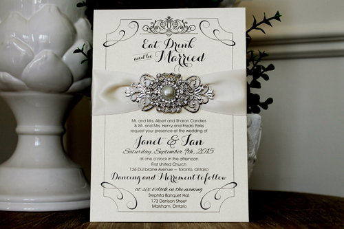 Wedding Invitation 1303: White Gold, Antique Ribbon, Brooch/Buckle Q, Metal Filigree F4 - Silver
