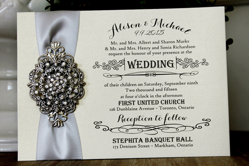 Wedding Invitation 1304: White Gold, Silver Ribbon, Brooch/Buckle A20, Metal Filigree F4 - Silver