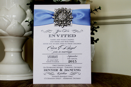 Wedding Invitation 1305: Orchid Pearl, Periwinkle Ribbon, Brooch/Buckle A11, Metal Filigree F5 - Silver