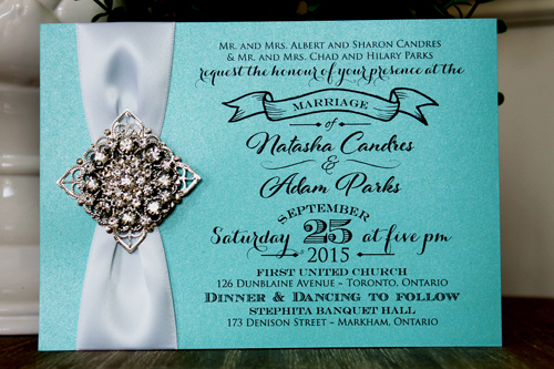 Wedding Invitation 1313 Tiffany Pearl White Ribbon