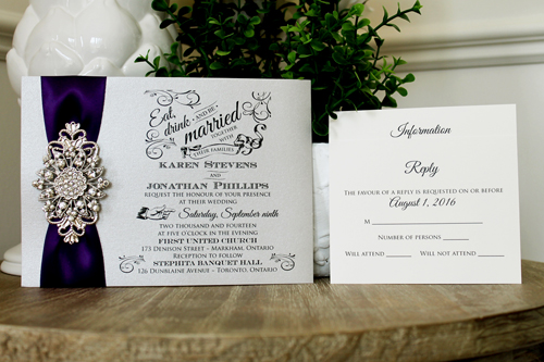 Wedding Invitations With Purple Ribbon: Wedding Invitation 1329: Silver Ore, Purple Ribbon