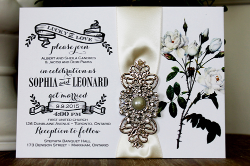 Wedding Invitation 1331: White Smooth, Antique Ribbon, Brooch/Buckle Q, Metal Filigree F4 - Silver