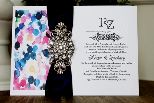 Wedding Invitation 1339: White Smooth, Navy Ribbon, Brooch/Buckle X, Metal Filigree F4 - Silver