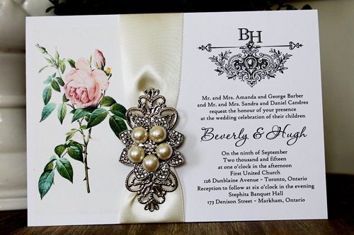 Wedding Invitation 1341: White Smooth, Antique Ribbon, Brooch/Buckle T, Metal Filigree F4 - Silver