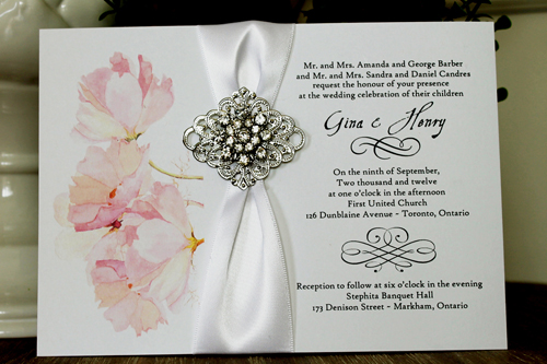 Wedding Invitation 1343: White Smooth, Brooch/Buckle A9, Metal Filigree F2 - Silver