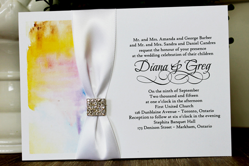 Wedding Invitation 1344: White Smooth, White Ribbon, Brooch/Buckle I