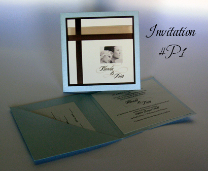 Invitation P1: Tiffany Pearl, Chocolate Smooth, Cream Smooth, Cherish, Calligraph 421, Champagne Ribbon, Brown Ribbon