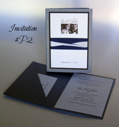 Invitation P2: Blue Steele Pearl, Black Linen, White Smooth, Miss Le Gatees, Papyrus, Navy Ribbon, White Ribbon