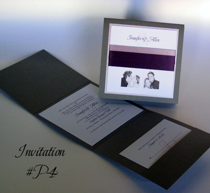 Invitation P4: Charcoal Pearl, Lilac Pearl, White Smooth, Scriptina, Sabon Roman, Lavender Ribbon, Purple Ribbon