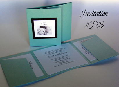 Invitation P5: Tiffany Pearl, Black Linen, White Smooth, Passions, Calligraph 421, Black Ribbon