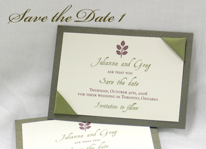 Invitation SavetheDate1: Sage Pearl, Cream Smooth, Aqualine 2, Sabon Roman, Sage Ribbon