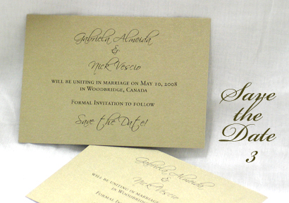 Invitation SavetheDate3: Gold Pearl, Scriptina, Sabon Roman