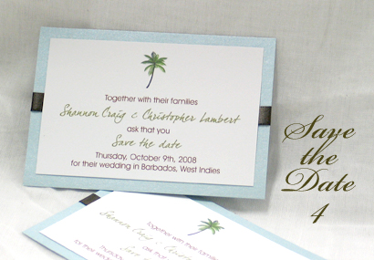 Invitation SavetheDate4: Tiffany Pearl, White Smooth, Aqualine, Myriad Pro Light, Black Ribbon