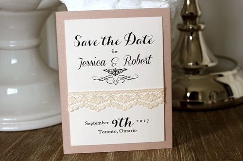 Wedding Invitation SavetheDate14: Blush Pearl, Cream Smooth, Cream - Thin Lace