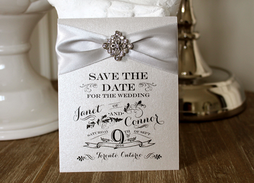 Wedding Invitation SavetheDate15: Silver Ore, Silver Ribbon