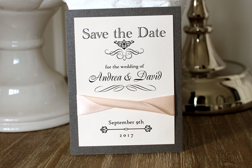 Wedding Invitation SavetheDate16: Charcoal Pearl, Blush Ribbon