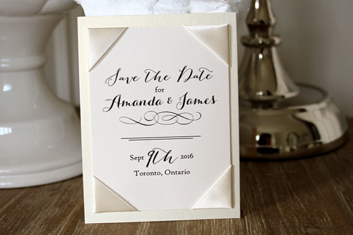 Wedding Invitation SavetheDate19: White Gold