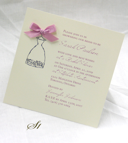 Invitation S1: Cream Smooth, Wishing Type, Sabon Roman, Mauve Ribbon