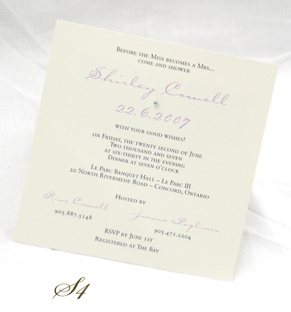 Invitation S4: White Smooth, Wishing Type, Sabon Roman