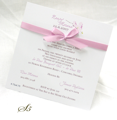 Invitation S5: White Smooth, Dear Joe 4, Sabon Roman, Pink Ribbon