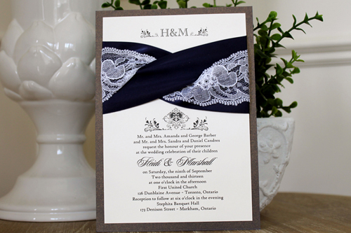 Wedding Invitation 1101: Colbalt Pearl, Cream Smooth, Duet, High Tower, Navy Ribbon, Navy Ribbon, White Lace
