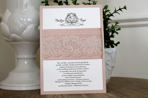 Wedding Invitation 1102: Blush Pearl, Cream Smooth, The Nauti Gal, High Tower, Deep Blush Ribbon, Deep Blush Ribbon, Cream Lace