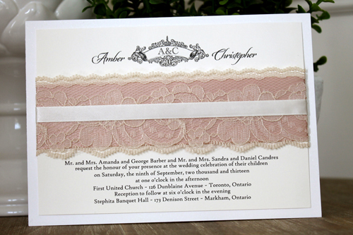 Wedding Invitation 1103: Pearl, Cream Smooth, Origins, High Tower, Deep Blush Ribbon, Antique Ribbon, Cream Lace