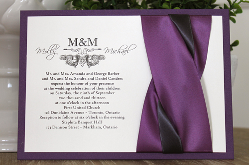 Wedding Invitation 1104: Purple Pearl, Cream Smooth, Scriptina, High Tower, Grape Ribbon, Grape Ribbon, Deep Charcoal Ribbon