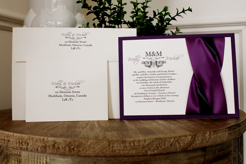 Wedding Invitations With Purple Ribbon: Wedding Invitation 1104: Purple Pearl, Cream Smooth