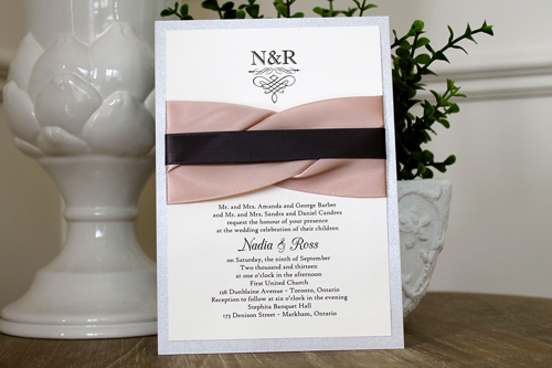 Wedding Invitation 1105: Silver Ore, Cream Smooth, CAC Champagne, High Tower, Deep Blush Ribbon, Deep Blush Ribbon, Deep Charcoal Ribbon