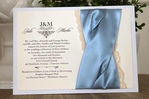 Wedding Invitation 1106: Dust Blue, Cream Smooth, Sloop, High Tower, Blue Mist Ribbon, Blue Mist Ribbon, Cream Lace