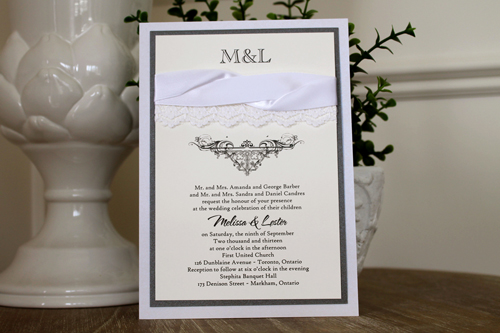 Wedding Invitation 1108: Iridescent Pearl, Charcoal Pearl, Cream Smooth, The Nauti Gal, High Tower, White Ribbon, White Ribbon, White - Thin Lace