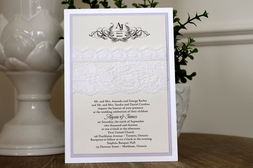 Wedding Invitation 1109: Ice Pearl, Orchid Pearl, Cream Smooth, Beau Rivage, High Tower, White Lace