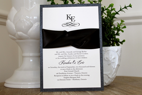 Wedding Invitation 1110: Black Pearl, Cream Smooth, Origins, High Tower, Black Ribbon, Black Ribbon